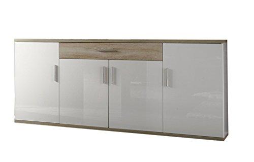 trendteam AA Sideboard Wohnzimmerschrank Kommode | Hochglanz Weiß | Eiche Sägerau Hell | 180 x 87 cm