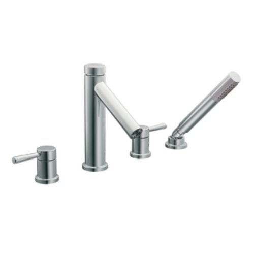 Moen T914 Level Two-Handle High Arc Roman Tub Faucet And Hand Shower Without Valve, Chrome front-321125