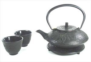 Black Color Cast Iron Tea Set Bamboo #ts7-06bk by M.V. Trading Co.