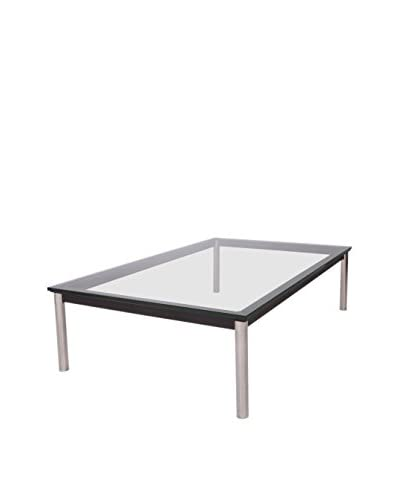 LeisureMod Ramson Rectangular Glass Top Coffee Table, Clear