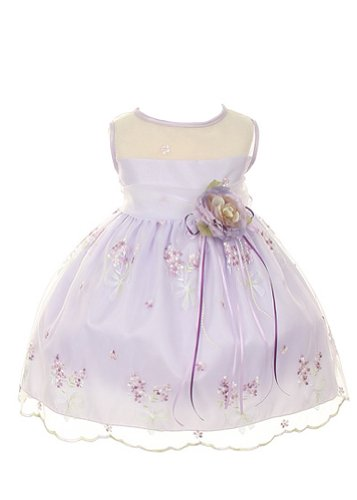 Kid'S Dream Girl'S Lilac Satin Embroidered Infant Girl Dress-Lilac-M front-987498