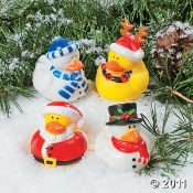One Dozen (12) Christmas Holiday Rubber Ducky Party Favors
