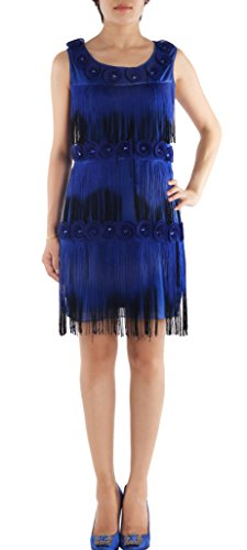 JustinCostume 1920s Flower Fringe Latin Dance Costumes Flapper Gatsby Dress