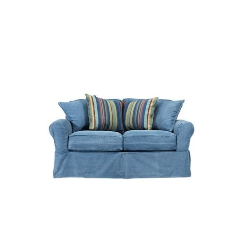 Cindy crawford blue denim loveseat love seats Denim loveseat