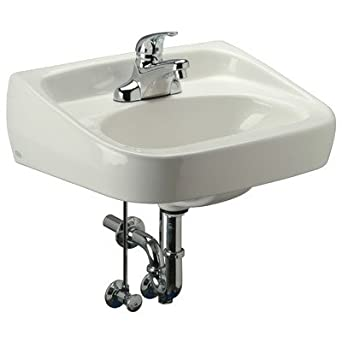 Zurn Z5341-PED Standard Arm Lavatory with Half Pedestal, Single Hole, 20x18
