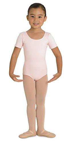 Kinder Ballett Body mit kurzem Arm und rundem Halsausschnitt