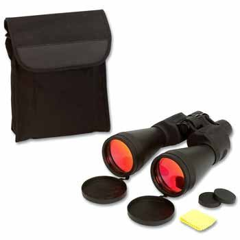 """15X70 Binoculars *** Product Description: 15X70 Binoculars. Feature Ruby Lenses For Glare Reduction, Carrying Case With Strap, Neck Strap, And Lens Cloth. Hinged Barrels Measure 8"""" In Length. Limited Ten Year Warranty. Gift Boxed. ***"""