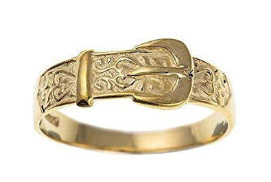 J R Jewellery 414760 9ct Yellow Gold Ladies Buckle Ring British Made & Hallmarked