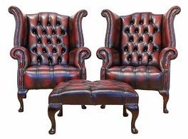 Chesterfield Offer Buttoned Seat Pair Queen Anne High Back