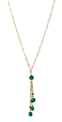 Swarovski Elements Green Shamrock and Faceted Bead on Gold Plated Sterling Silver Chain Multi Drop Necklace, 18