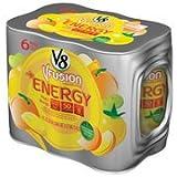 V8 V-Fusion Peach Mango Flavored Vegetable & Fruit Juice + Energy, 8 oz, 6pk(Case of 2)