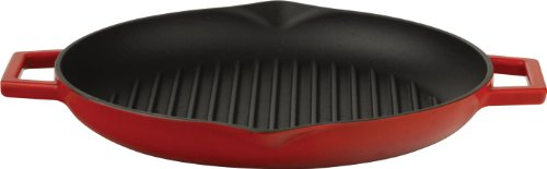 Lava Signature Enameled Cast-Iron 12 Inch Round Grill Pan, Cayenne Red front-76557