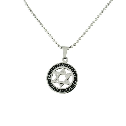 Two Tone Stainless Steel Star of David Egypt Key Circle Pendant