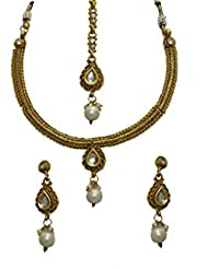 LA TRENDZ Drop Shape Kundan Delicate With Pearl Necklace Set For Women