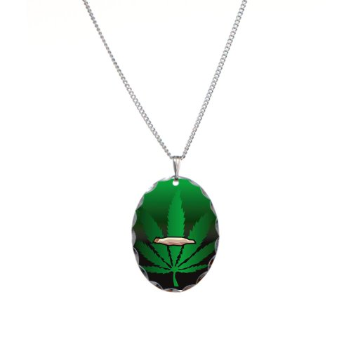 Necklace Oval Charm Marijuana Joint and Leaf
