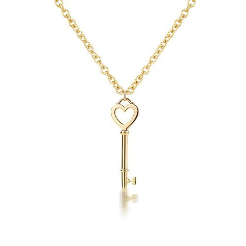 Bling Jewelry Gold Vermeil Petite Heart Key Pendant Necklace 16in 925 Silver