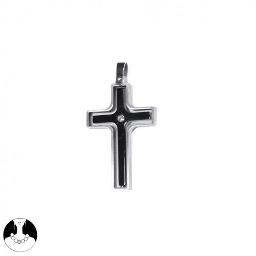 SG Paris Pendant Steel 316L Steel Black Oxyde Circonium Noir/Jet Pendant/Charm Pendant Stainless Steel The Essential Man Hom-Actua The Essential Cross