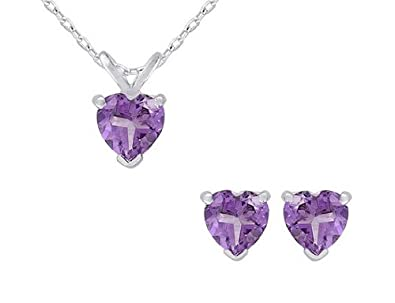 Amethyst Heart Earrings and Pendant Necklace Set 3.0 Carat (ctw) in Sterling Silver