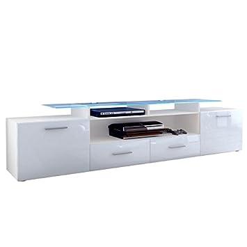 mobile porta tv credenza madia Valentino art. 1421 bianco bianco lucido cm. 194