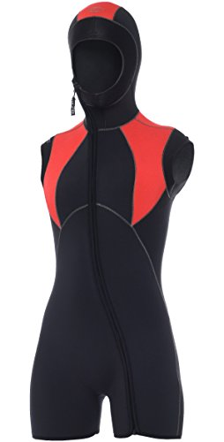 Bare 7mm Women's Elastek Step-In Hooded Vest, Red Size 10 (Hooded Vest Scuba compare prices)