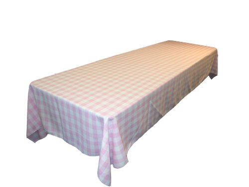 La linen checkered tablecloth 60 by 120 inch pink home for 120 table linen