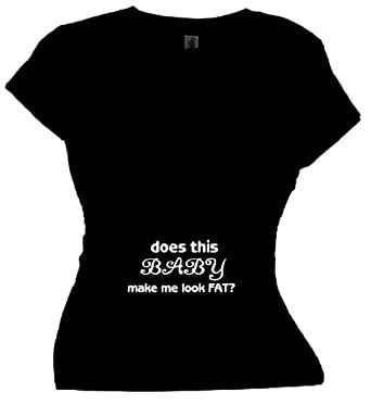 FDT Womens Mom SS T-Shirt-Does This Baby make me look Fat-Black Sm