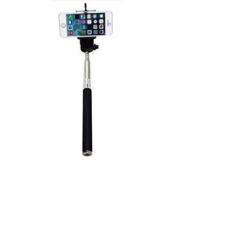 Selfie Stick / Selfie bar / asta Selfie / per smartphone e macchine fotografiche. Buon Esempio Sony, Samsung, Huawei, Apple, ZTE, Medion, UHAPPY, Haier, Leagoo, Cubot, TIMMY, odys, Blackview, Uhans, nero, metallico, senza batterie necessarie. Monopiede, asta telescopica, Autoritratto, palmare Stick