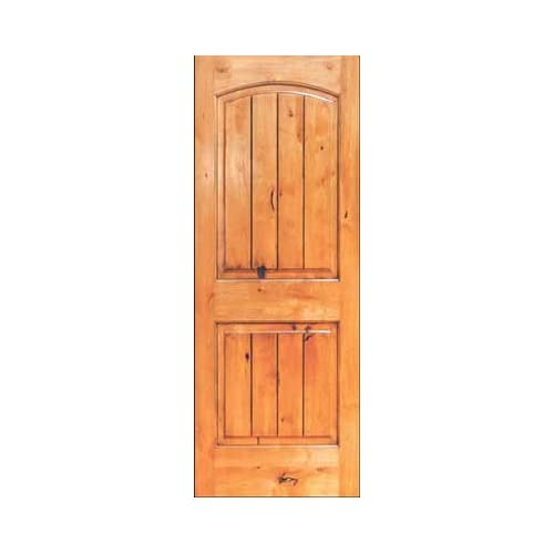 Interior door 8 ft tall knotty alder two panel arch v for 8 foot exterior doors