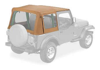 Bestop 79120-37 Spice Sailcloth Replace-A-Top Soft Top With Clear Windows And Upper Half Door Skins For 88-95 Wrangler Yj