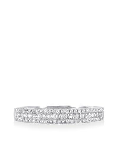 Fashion Strada 14K White Gold Three-Row Diamond Ring
