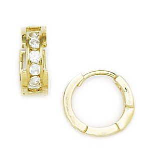 14ct Yellow Gold Round CZ Large Hinged Earrings - Measures 11x12mm