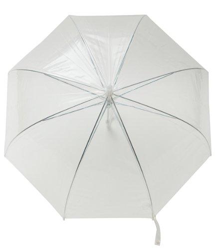 Transparenter / Durchsichtiger Regenschirm mit weißem Griff / Hochzeitsschirm -