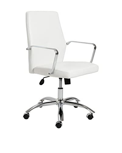 Euro Style Napoleon Low Back Office Chair, White