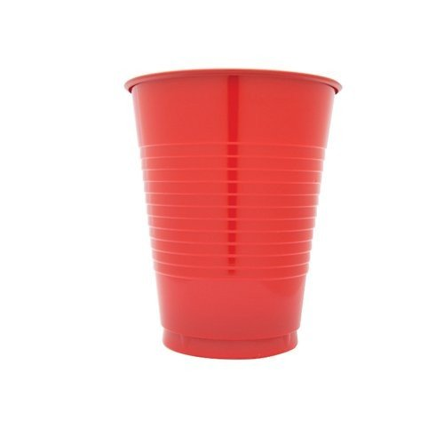 Creative Converting 600 Count Case Touch Of Color Plastic Cups, 16-Ounce, Classic Red