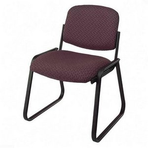 Office Star Deluxe Sled Base Armless Chair in Cabernet