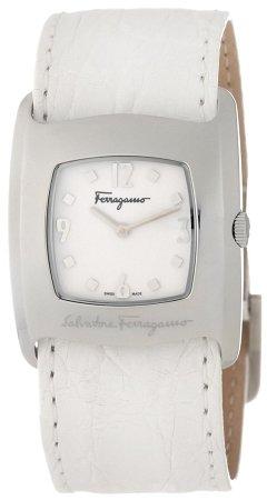 Ferragamo Women's F51SBQ9991 SC01 Vara Steel White Crocodile Strap Watch