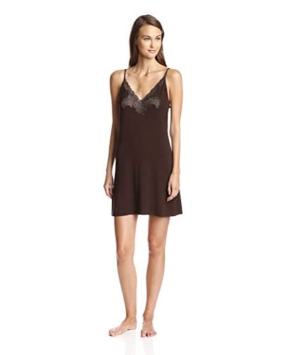 Natori Women's Feathers Solid Chemise with Lace Detailing