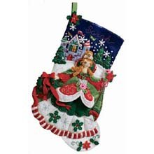 Bucilla 18-Inch Christmas Stocking Felt Applique Kit, Princess