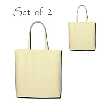 Loving Nature Collection - Set of 2 Canvas Tote Bags - 100% Eco-Friendly Turkish Cotton, Color: Natural Beige, Size: Standard