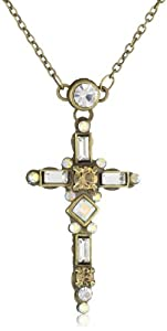 """Sorrelli """"Stardust"""" Cross with Clear and Light Gold Cut Crystal Accent Pendant Necklace"""