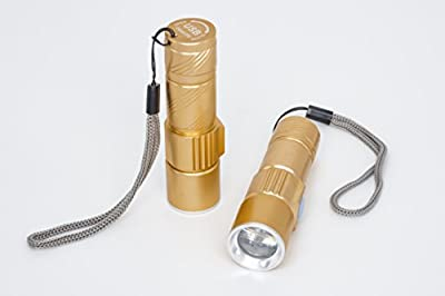 Starsea, Mini USB Rechargeable LED Handheld Flashlight Torch Adjustable Focus Zoom Aluminum Alloy Portable Rechargeable Light Lamp for Camping, Hiking, Hunting & Indoor Activities - 3.66 Inches Gold color (1 Pack)