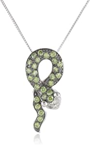 "10k White Gold Apple Green Irradiated and White Diamond Snake Pendant Necklace (1/3 cttw, I-J Color, I2-I3 Clarity), 18"" from Amazon Curated Collection"