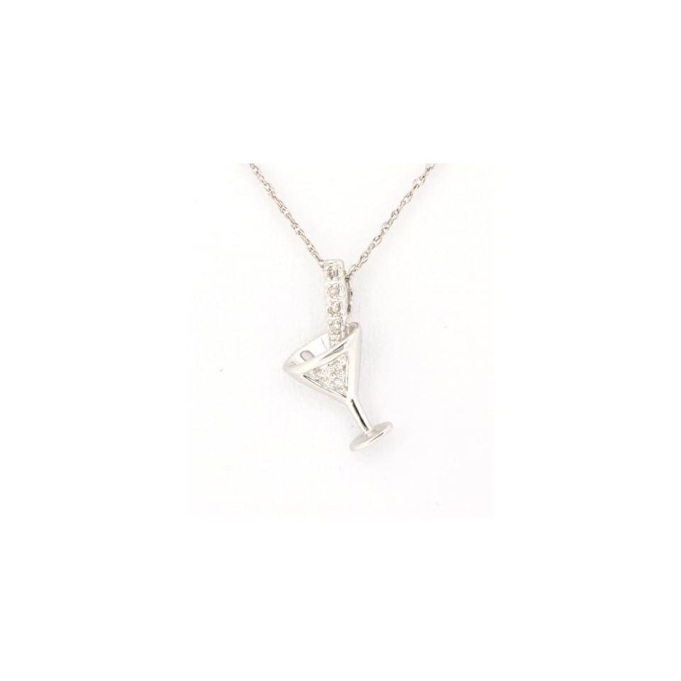 14K White Gold Diamond Martini Glass Charm