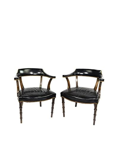 Uptown Down Set of 2 Mid-Century Black Leather Chairs