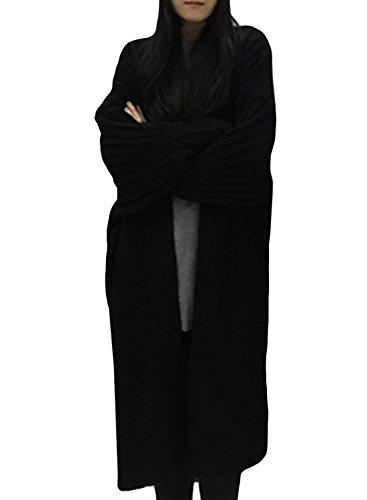 ACHICGIRL Women's Ribbed Lantern Sleeve Open Front Cardigan, Black One Size
