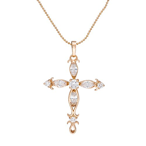 Romantic Time Flower Arrow Anchor Diamond Accented 18k Rose Gold Cross Pendant Necklace