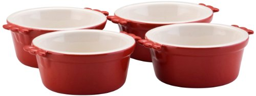 BonJour Stoneware 4-Piece Ramekin Set, Rouge Red