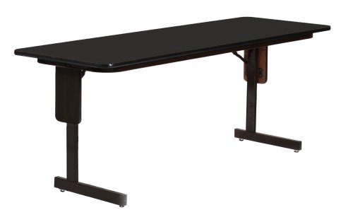 "Correll Sp2460Px 07 High Pressure Laminate Classroom, Training And Seminar Panel Leg Folding Table, Rectangular, 24"" Width X 60"" Length, Seats 2, Black Granite"