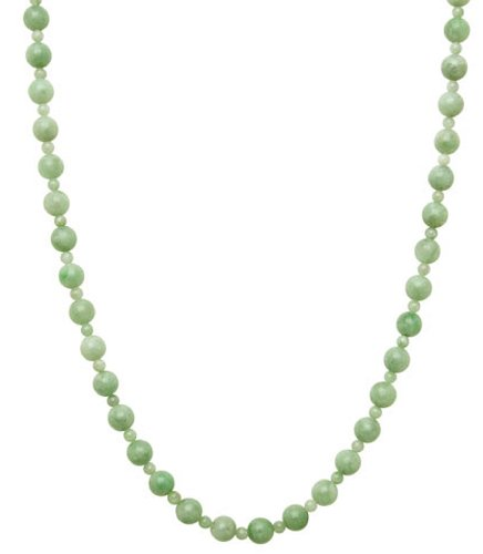 14kt Yellow Gold 4/8 mm Polished Green Jade Bead Necklace, 18