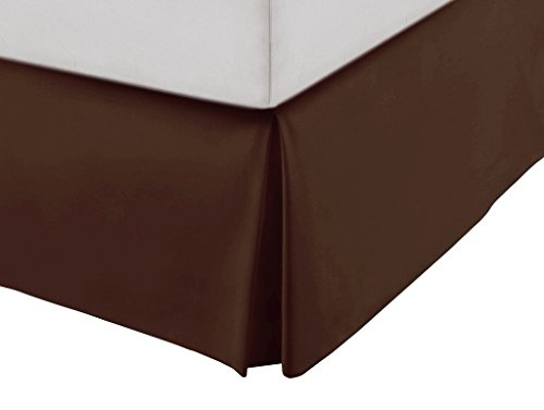 SRP Bedding Real 210 Thread Count Split Corner Bed Skirt / Dust Ruffle Twin Extra Long Size Solid Chocolate 12